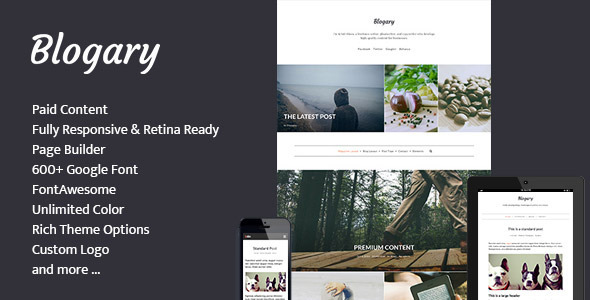 Blogary Paid Centent Blog Magazine WordPress Theme - Blog / Magazine WordPress